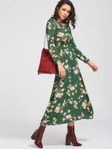 Long Sleeve Buttons Tiny Floral Maxi Dress - Green Xs