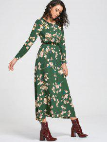 92e748b90bae 32% OFF  2019 Long Sleeve Buttons Tiny Floral Maxi Dress In GREEN ...