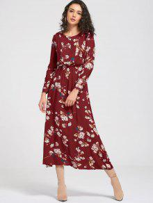 Long Sleeve Buttons Tiny Floral Maxi Dress - Wine Red M