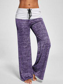 Foldover Heather Wide Leg Pants - Purple S
