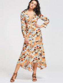 Long Sleeve Button Up Maxi Dress - Yellow L