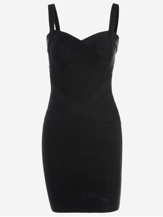hot Sweetheart Neck Bodycon Bandage Dress - BLACK S