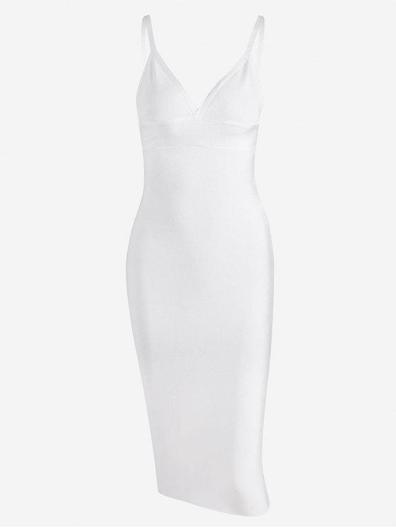 trendy Zippered Cami Fitted Dress - WHITE M