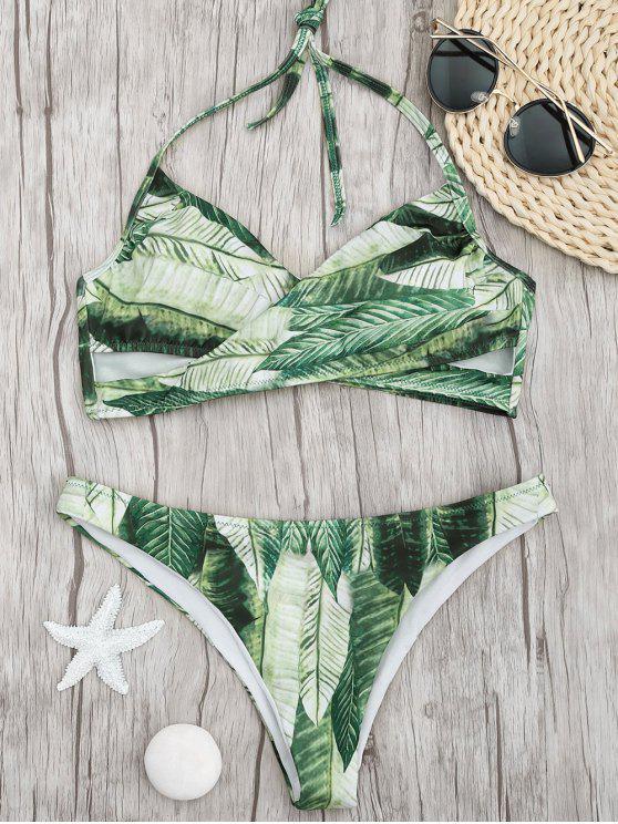 ladies Palm Leaf Print Crossover Bikini Set - GREEN L