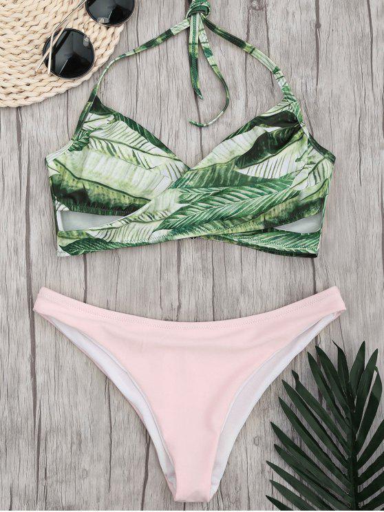 hot Crossover Palm Leaf High Cut  Bikini - PINK S