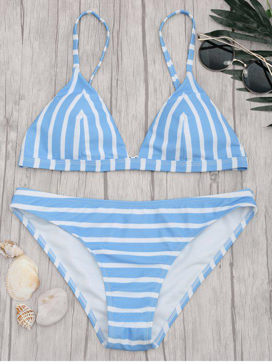women Chevron Striped Padded Cami Bikini Set - BLUE AND WHITE S
