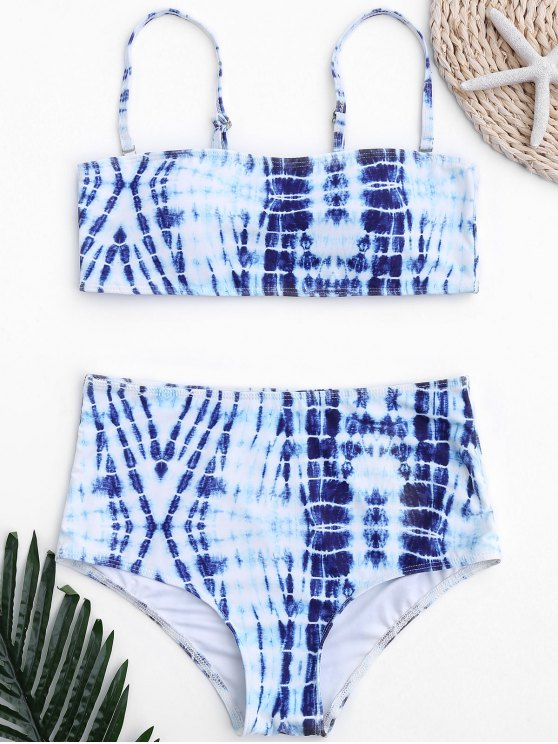 online Tie-Dyed High Waisted Bathing Suit - BLUE AND WHITE M