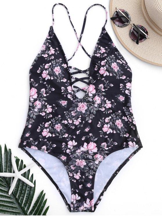 الأزهار سترابي عالية قطع قطعة واحدة ملابس السباحة - أسود L