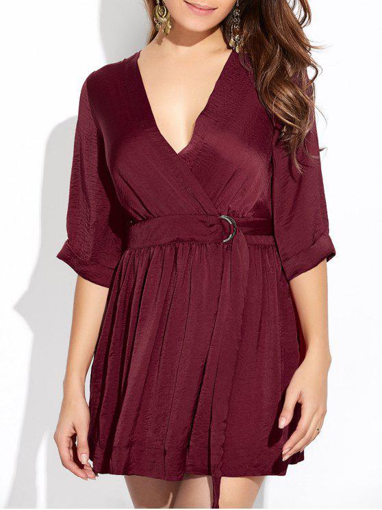 women's Wrap A-Line Dress - WINE RED S