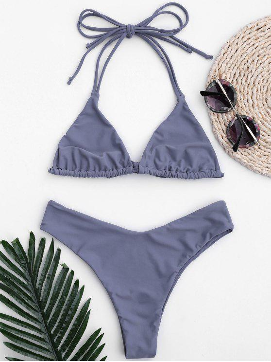 fashion Halter Thong Bralette High Cut Bikini - STONE BLUE L