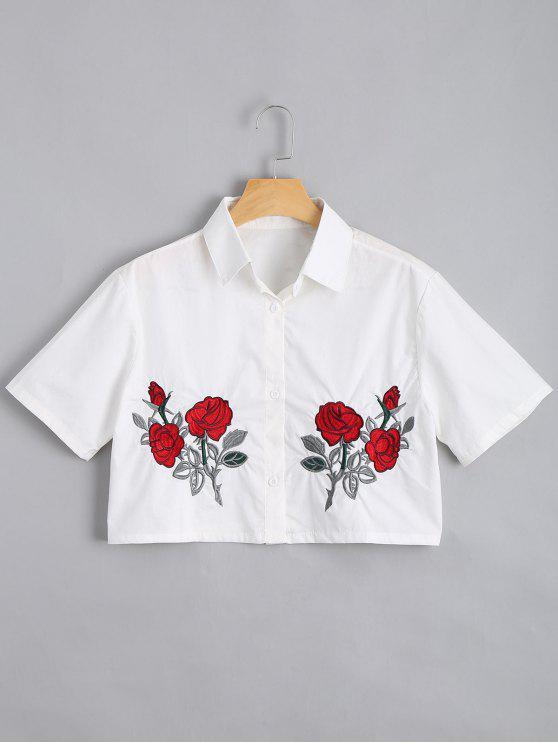 Camisa bordada bordada floral com botão para baixo - Branco L