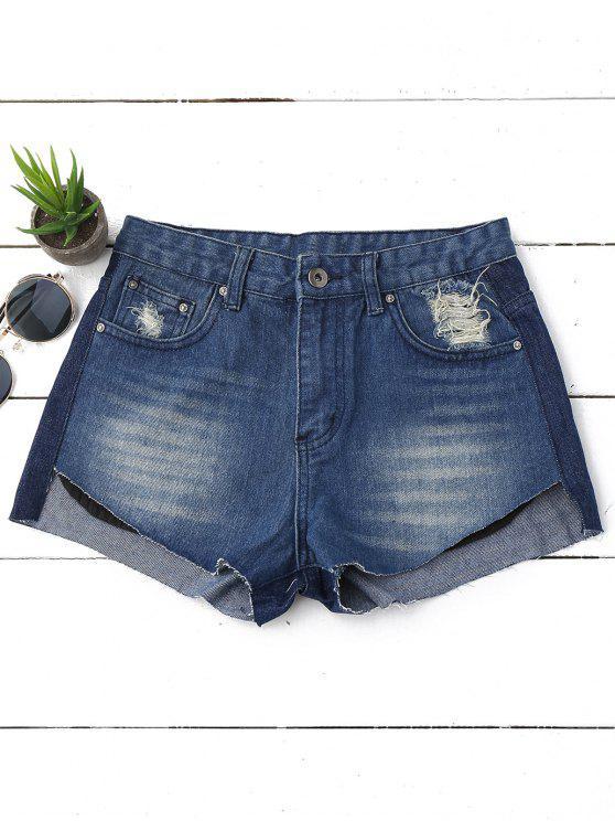 unique Ripped High Low Hem Denim Shorts - DENIM BLUE 29