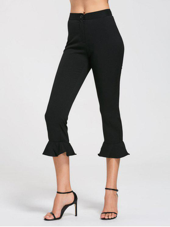 lady Ruffle Hem High Waist Capri Pants - BLACK M