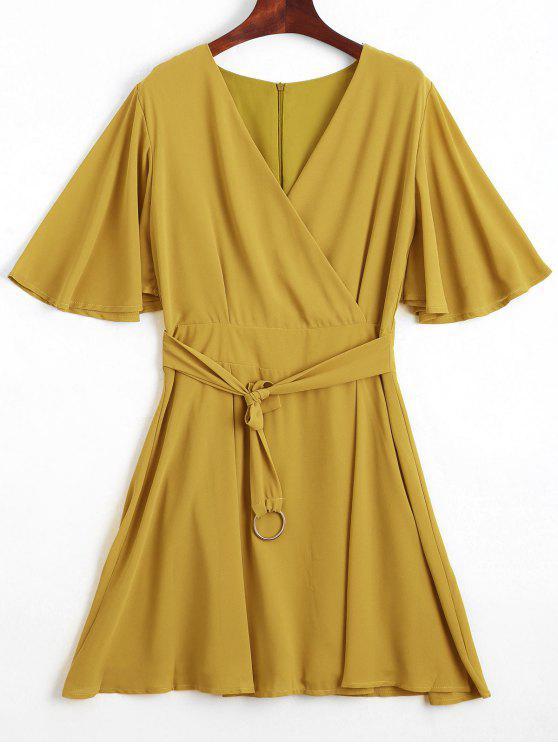 Flouncy Sleeve Gürtel Chiffon Kleid - Gelb S