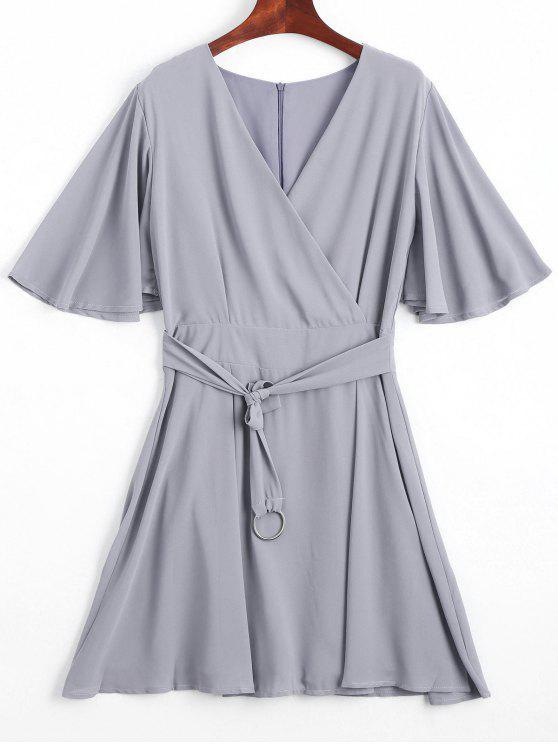 Flouncy Sleeve Belted Chiffon Dress - Cinza S