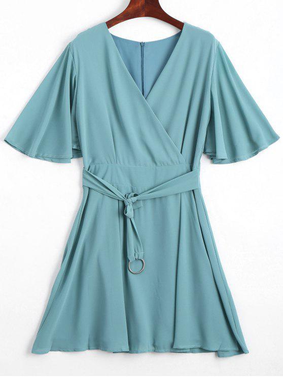 chic Flouncy Sleeve Belted Chiffon Dress - PEA GREEN L