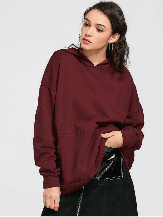 chic Drop Shoulder Front Pocket Oversized Hoodie - WINE RED ONE SIZE