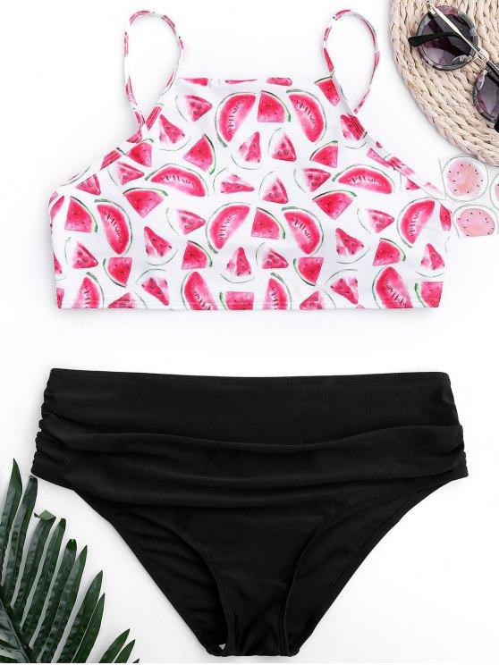 chic Ruched Watermelon High Cut Bikini - BLACK M