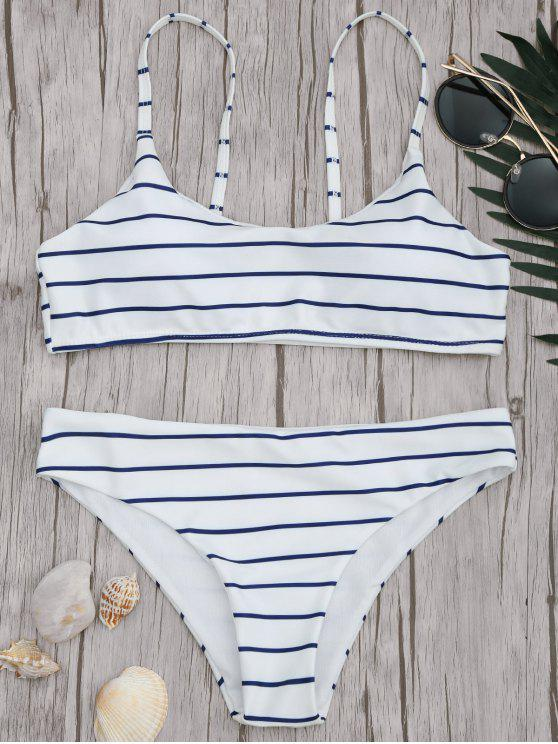 outfit Padded Striped Bralette Scoop Bikini Set - BLUE AND WHITE M