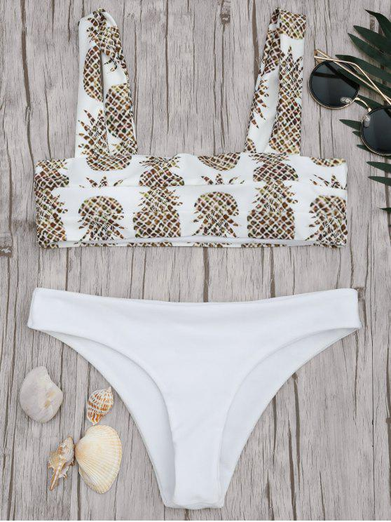 shop Square Neck Pineapple Print Bikini Set - WHITE L