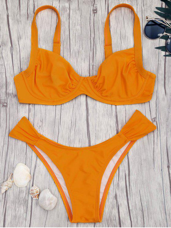 ladies Push Up Underwire Bikini Set - ORANGE S
