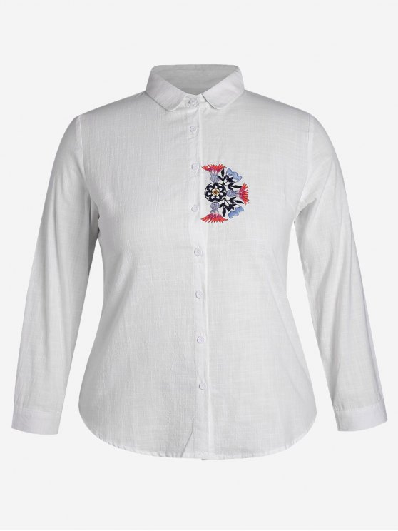 hot Plus Size Embroidered Single Breasted Shirt - WHITE 3XL