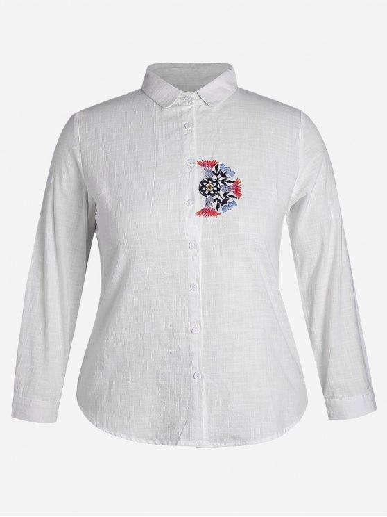 Chemise à poitrine brodée en gros - Blanc 4XL