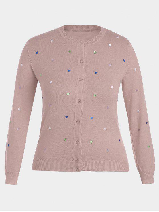 shop Heart Embroidered Plus Size Knitwear - PINK 4XL