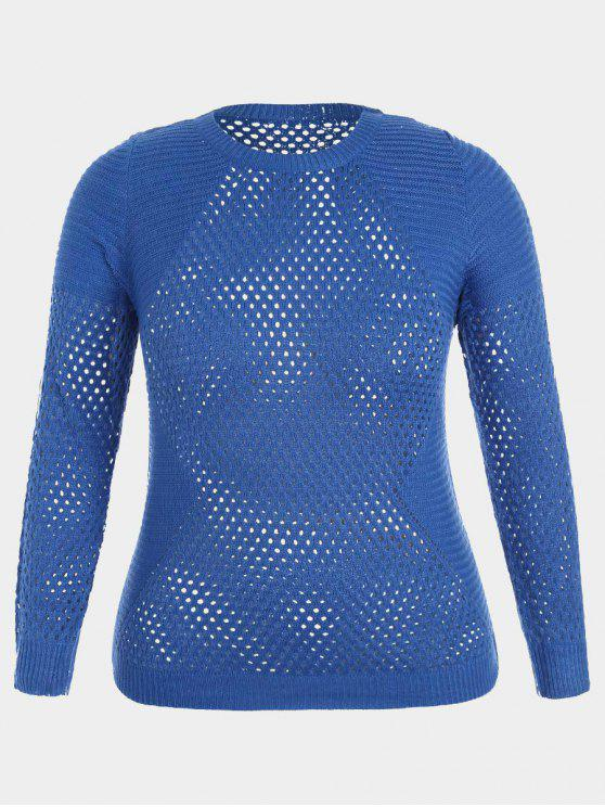 Pullover Plus Size Hollow Out Sweater - Azul Zafiro 2XL