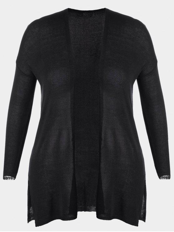 sale Open Front Plus Size Slit Cardigan - BLACK 2XL