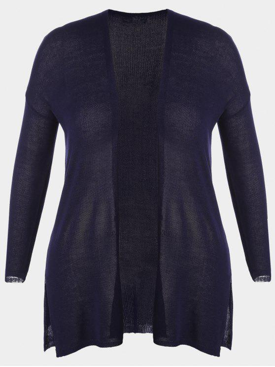 ladies Open Front Plus Size Slit Cardigan - PURPLISH BLUE 2XL