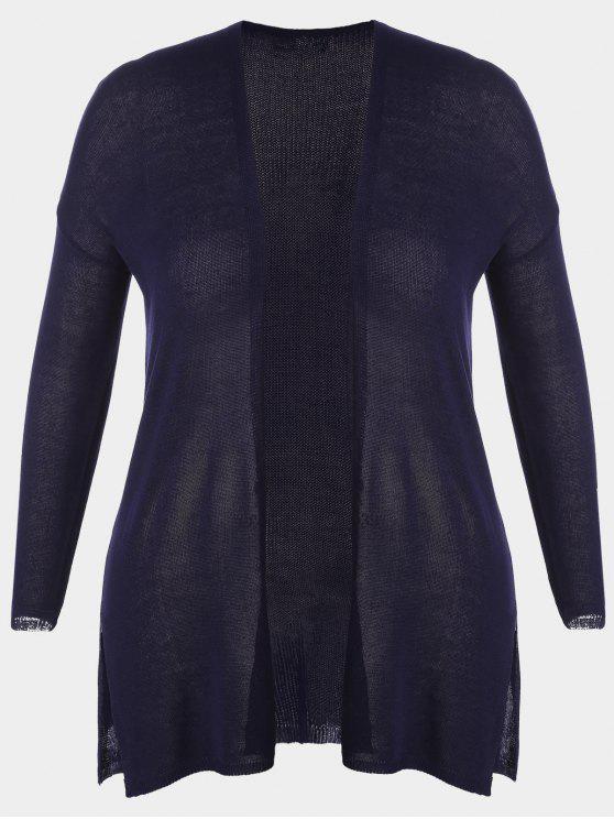 Cardigan à rayures ouvertes - Bleu Violet 2XL