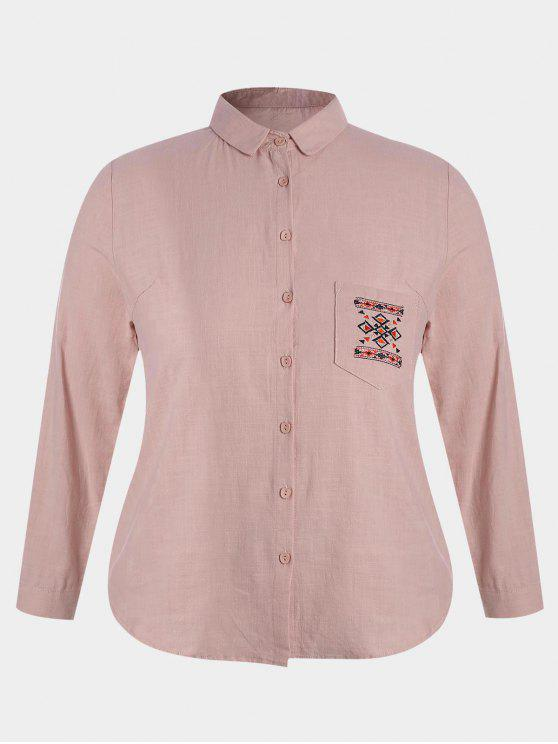 ladies Embroidered Plus Size Pocket Shirt - PINK 4XL
