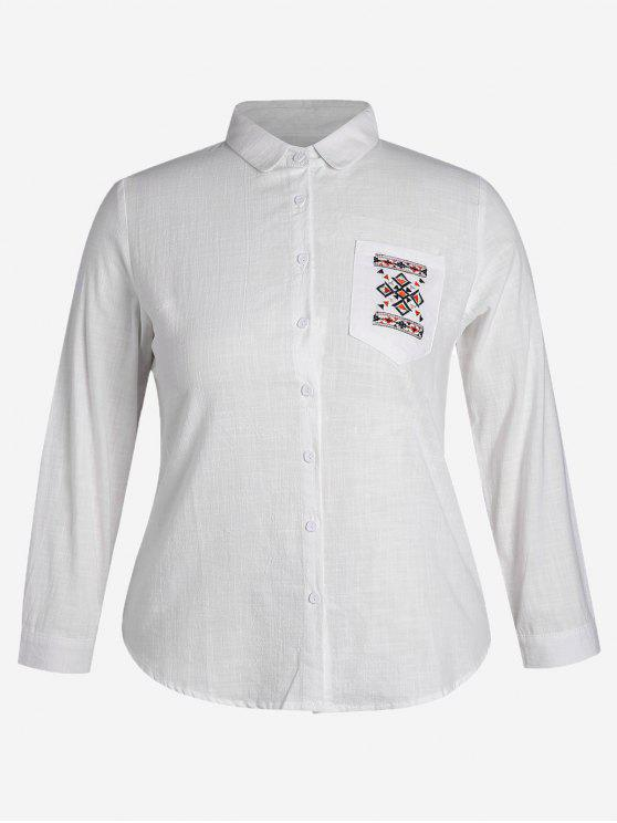 outfit Embroidered Plus Size Pocket Shirt - WHITE 3XL