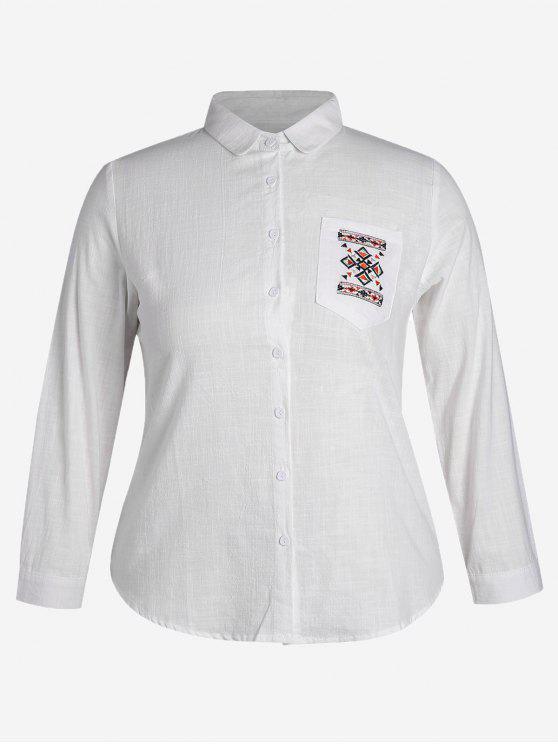 latest Embroidered Plus Size Pocket Shirt - WHITE 4XL