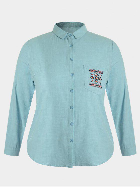 fashion Embroidered Plus Size Pocket Shirt - BLUE GREEN 3XL