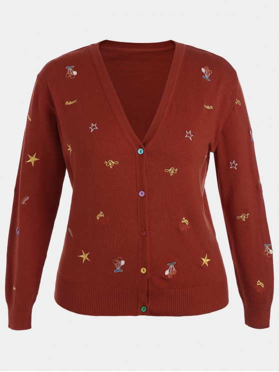 chic Plus Size Embroidered Knitwear - DEEP RED XL