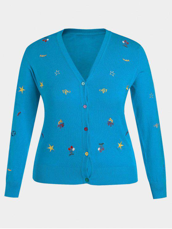 womens Plus Size Embroidered Knitwear - LAKE BLUE 2XL