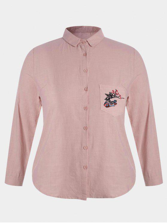 women Plus Size Pocket Embroidered Shirt - PINK 2XL