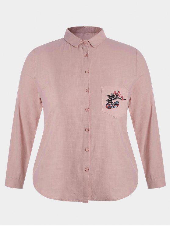 women Plus Size Pocket Embroidered Shirt - PINK 2XL