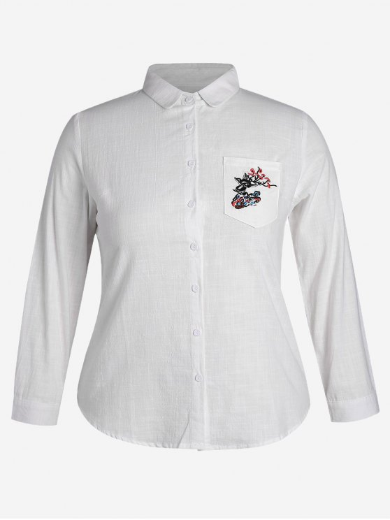 outfit Plus Size Pocket Embroidered Shirt - WHITE 4XL
