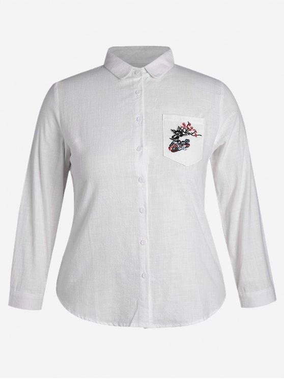 Camisa bordada bolsillo del tamaño más - Blanco 4XL