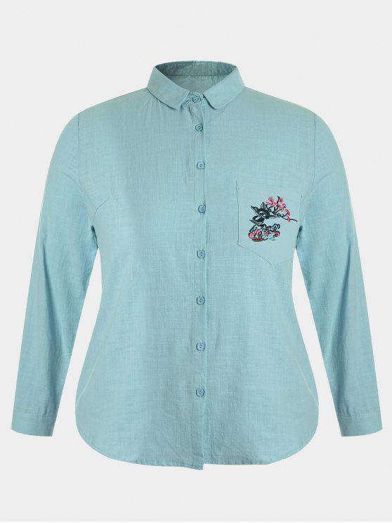 latest Plus Size Pocket Embroidered Shirt - BLUE GREEN 2XL