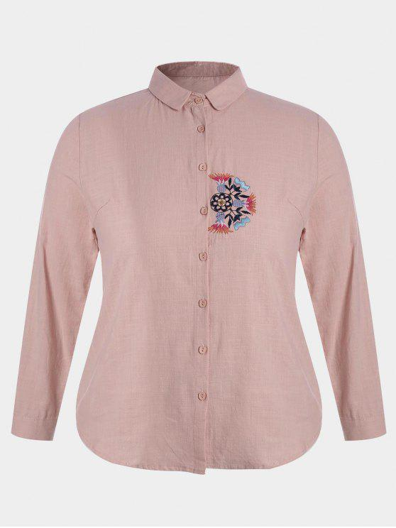 affordable Plus Size Embroidered Single Breasted Shirt - PINK 3XL