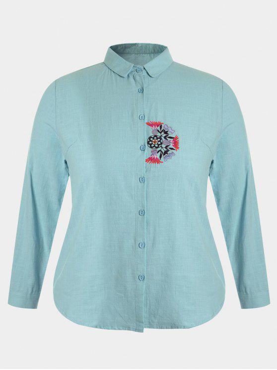 ladies Plus Size Embroidered Single Breasted Shirt - BLUE GREEN 2XL