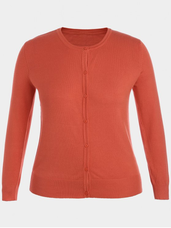 Plus Size Single Breasted Knitwear - Laranja 2XL