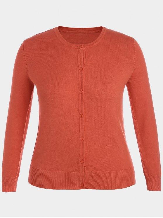 lady Plus Size Single Breasted Knitwear - ORANGE XL