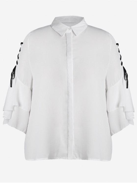 sale Plus Size Lace Up Sleeve Chiffon Shirt - WHITE XL