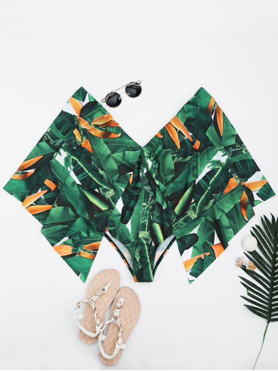 hot Palm Leaf Batwing Sleeve Plus Size Cape Swimwear - GREEN 3XL