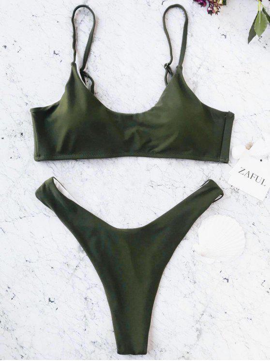 كامي مبطن براليت ثونغ المايوه - أخضر M